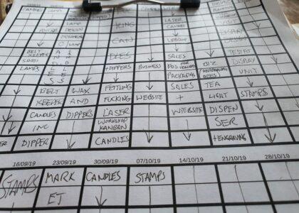 Workshop timesheet on clipboard