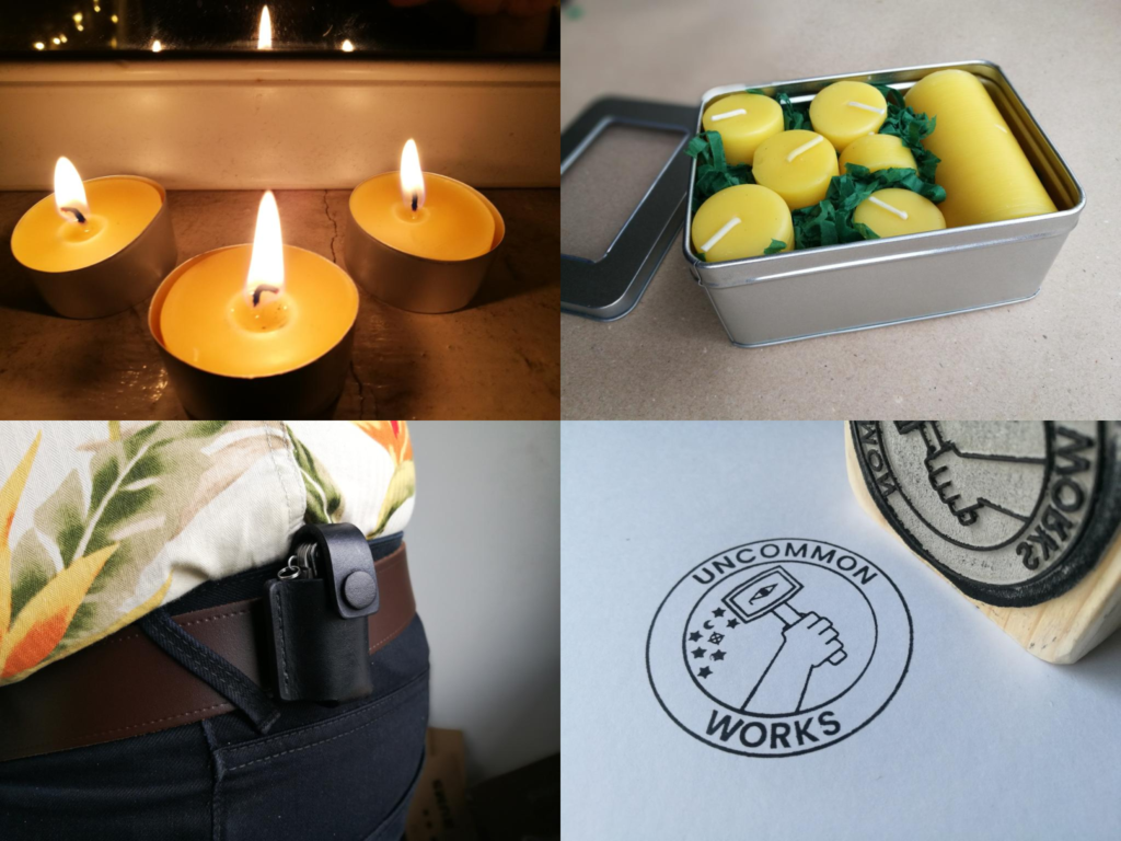 Tealights, tealight gift box, leather belt pouch and rubber stamp